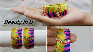 How to make Designer Silk Thread Bangle/Kada at Home || Model for sale at www.beautyinustores.com ||