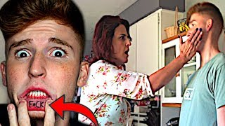 Showing My Mom My NEW FACE TATTOO.. *bad idea*