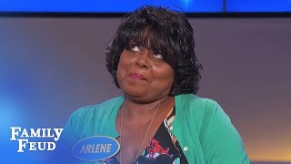 Hurry up Steve! Arlene wants to tell you this answer... AGAIN | Family Feud