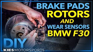 F30 BMW 328i 2013 Brake Pads, Rotors and Wear Sensor Change (Hawk Brake Pads and PowerStop Rotors)