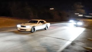 He came out in his GIRLFRIEND'S HELLCAT!!