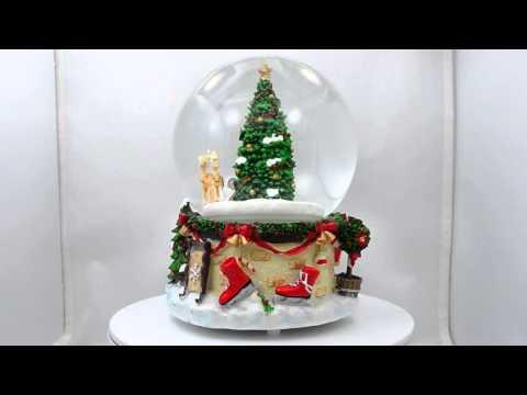 "7"" Animated Rotating Santa Claus on Reindeer Sleigh Musical Snow Globe"