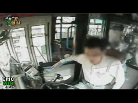 Bus Driver Saves Bus Crash Passengers with 1 Hand = Epic Win