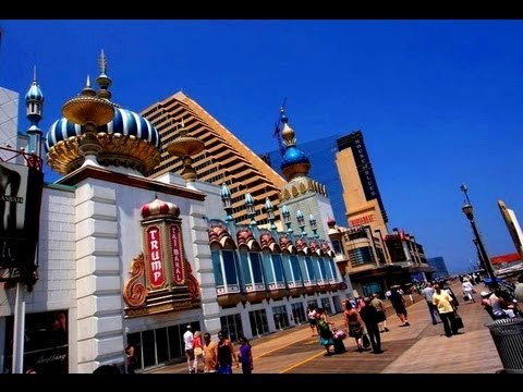 New Jersey - Atlantic City Beach, Walkway & Casino View - Tourism USA