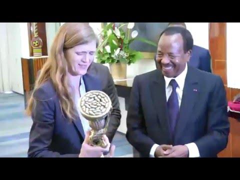 Audience accordée par S E  Paul BIYA à Mme Samantha Power, Ambassadrice des USA aux Nations Unies