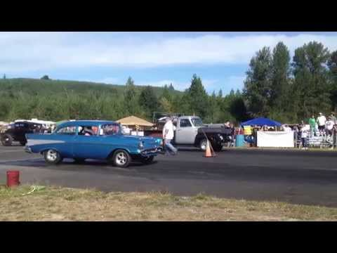 57' CHEVY VS. 54' FORD PICKUP BILLETPROOF ERUPTION DRAGS TOUTLE, WA 2013
