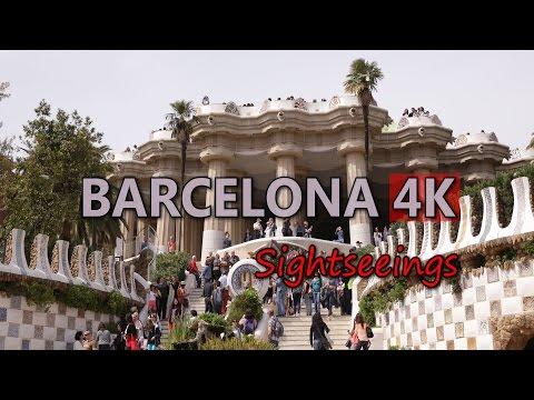 Ultra HD 4K Barcelona Spain Travel Landmarks Famous Sightseeings Day Night UHD Video Stock Footage