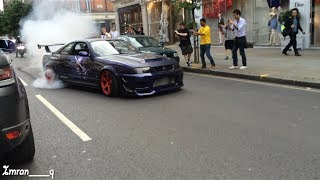 Nissan Skyline R33 GTR X2 Shooting Flames and MASSIVE BURNOUT GUMBALL 300 LONDON