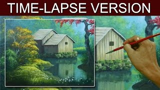 Time-Lapse Version | The Barn in the River | Acrylic Painting by JM Lisondra