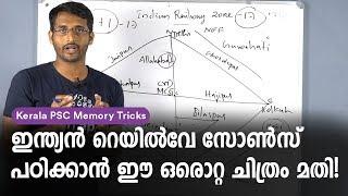 Memory Tricks to Learn Indian Railway Zones: Kerala PSC Memory Codes - University Assistant, VEO
