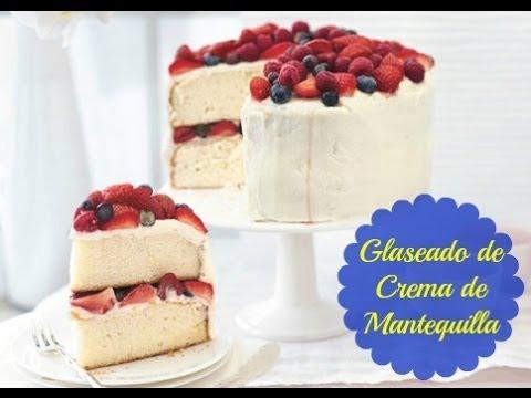 Glaseado de crema de mantequilla para decorar tortas youtube for Como decorar una torta facil y rapido
