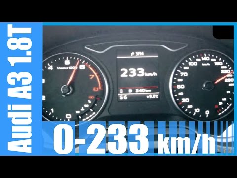 2014 Audi A3 1.8 TFSI 0-233 km/h 180 HP S-Tronic GREAT! Acceleration & Top Speed Run