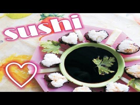 SUSHI fácil y económico ✩ roll con forma de CORAZÓN ♥ receta -14 de febrero / food recipe easy