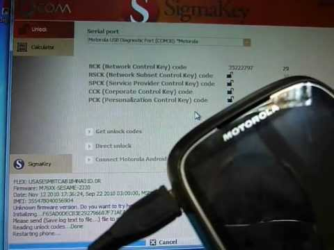 Unlock Motorola XT300 easy and fast with SigmaKey (Heuristic method)