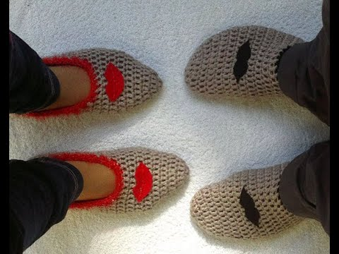 Tığ işi patik yapılışı - (How to make crochet slippers)