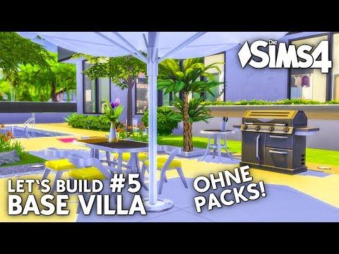 Die Sims 4 Haus bauen ohne Packs | Base Villa #5: Garten & Pool (deutsch)