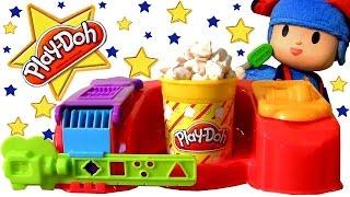 Play Doh Poppin Movie Snacks DIY Popcorn Popsicle Ice Cream Fries Hot Dog with Pocoyo