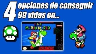 4 opciones de 99 vidas-Super Mario World (SNES)