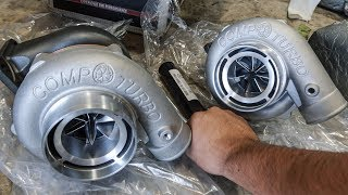 Unboxing my GT350's new TWIN 67mm Turbos!!!