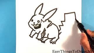 How to Draw Zombie Pikachu - Step by Step - Beginners