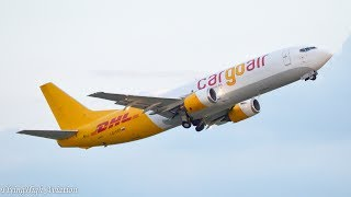 CLOSE-UP Cargo Air/DHL Boeing 737-400(SF) Sunset Takeoff from Belgrade Airport