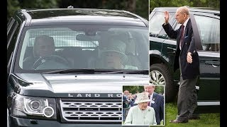 Prince Philip is seen for first time since hospital stay as he drives the Queen joins Edward