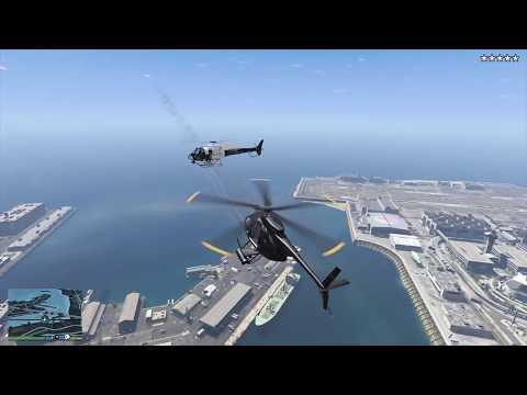 GTA 5 - Stealing a Buzzard + Five Star Escape