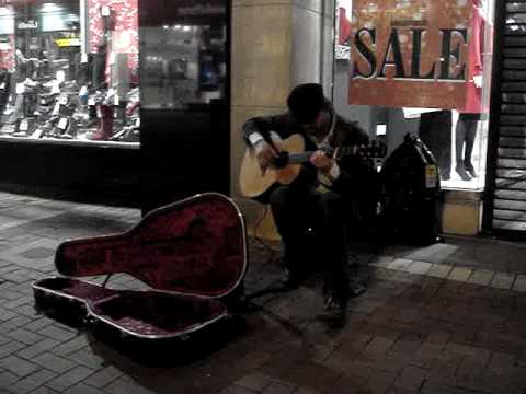 Gareth, Grafton street busker.  Savage blues guitar!