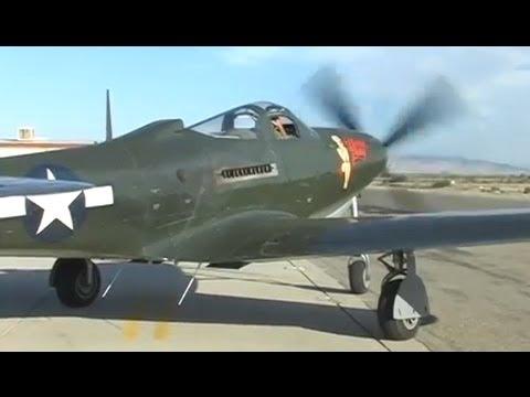 Restored WWII P-63 Kingcobra Fighter Flight Demo- GREAT Allison V-12 Engine Sound !