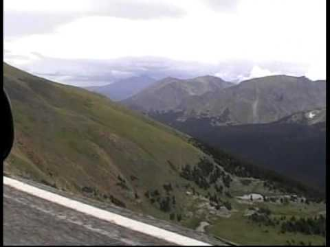 Scary drop-off  from Trail Ridge Road in Rocky Mountain National Park near Estes Park Colorado