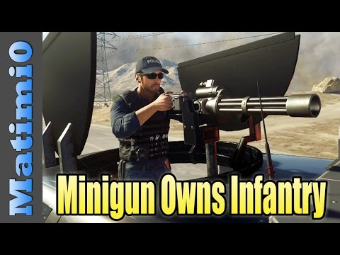 SUV Minigun Destroys Infantry - Battlefield Hardline (Double Vision)