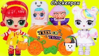LOL Surprise Dolls Lil Sisters Trick or Treat with Chicken Pox at Playmobil Police   Toy Wave 2