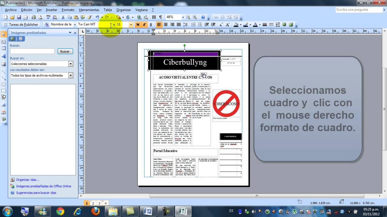 Como hacer un diario con m publisher 2007 camrec1 youtube for Como organizar un periodico mural