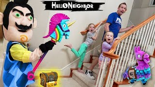 Hello Neighbor in Real Life Behind Closed Doors Fortnite Toy Scavenger Hunt!!