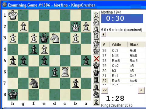 Chess World.net: Blitz #129 vs. Morfina (1941) - King's Indian: orthodox, Aronin-Taimanov, 9.Ne1