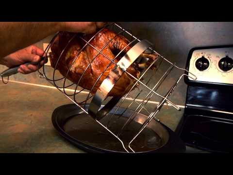 Removing Food From The Basket - Char-Broil TRU-Infrared Big Easy 2-in-1 Electric Smoker &amp; Roaster