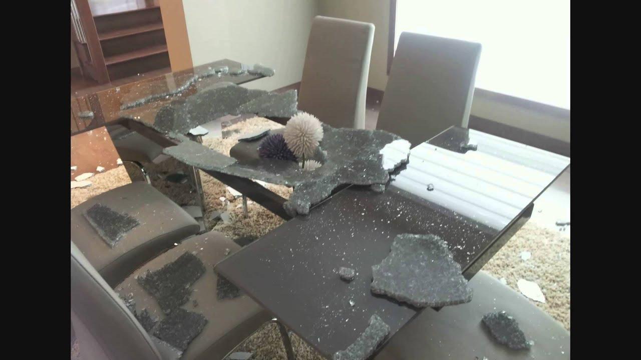 Dangerous glass table youtube - Broken glass dining table ...
