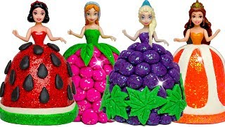 Disney Princess Play Doh Sparkle Fruit Dresses for Frozen Elsa & Anna, Belle, Snow White