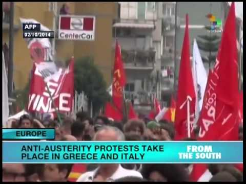 Anti-austerity protests held in Europe