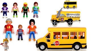 Learn Sizes Colors Numbers w/Playmobil School Bus Cars Vehicles Toys for Kids