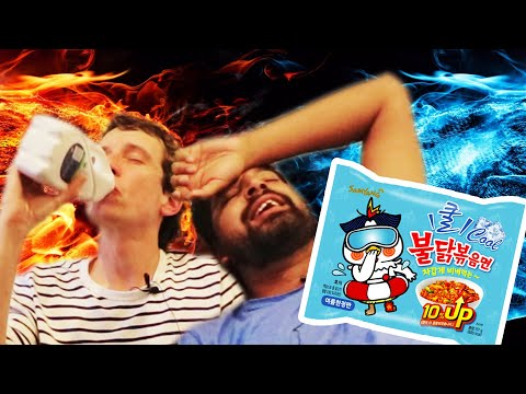 Trying Korean ICE-COLD Fire Noodles!?!