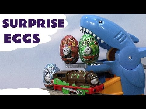 Surprise Egg Thomas And Friends Unboxing like Kinder Egg Surprise Toys Shark Attack Set Percy James