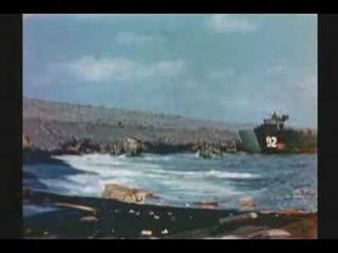 WW II : RARE COLOR FILM : IWO JIMA : US FLAG ON MT SURIBACHI