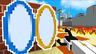 Minecraft PORTAL MOD BATTLE ! (Minecraft Portal Gun Mod) w/LandonMC & Friends