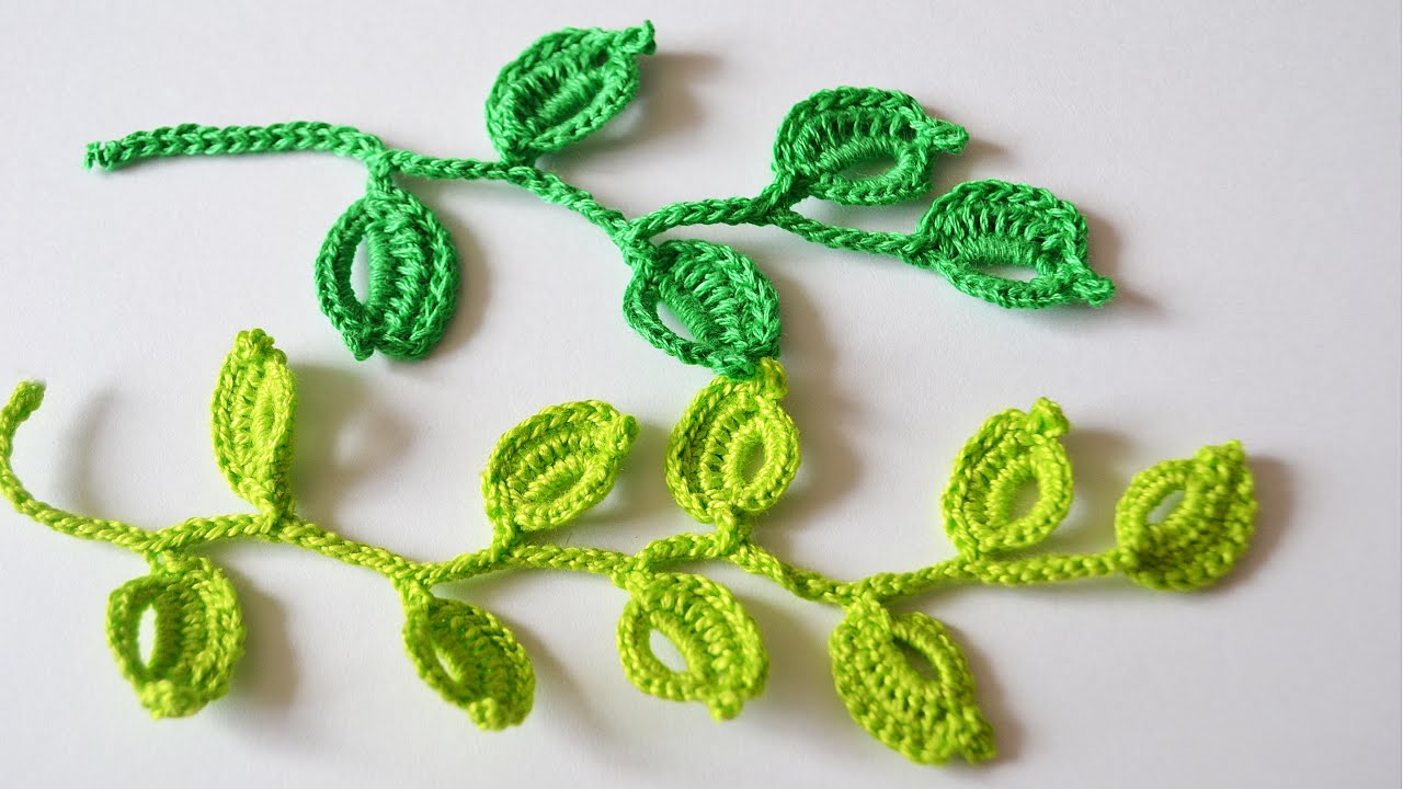 Вязание крючком листья 97