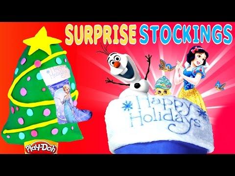 Surprise Stocking Frozen - Play Doh Disney Princess Despicable Me Shopkins Minnie Mouse Egg Toys video