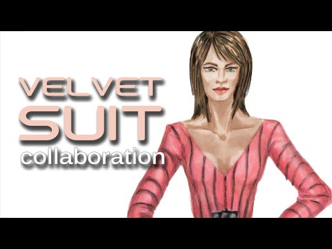 Printed Velvet Suit, subscriber collaboration with Alvin Constantine:  Fashion Design Lesson #38