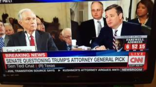 Senator Ted Cruz on the Senate Judiciary Committee Jeff Session