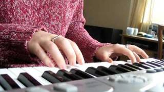Playing a song on my Medeli keyboard.