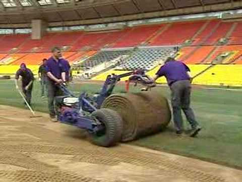 Natural lawn being installed replacing artificial grass at the Luzhniki stadium in Moscow ahead of the UEFA Champions League Final.